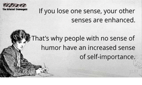 Internet, The Internet, and One: m r sanIf you lose one sense, your other  senses are enhanced  The Internet Savengers  That's why people with no sense of  humor have an increased sense  of self-importance.