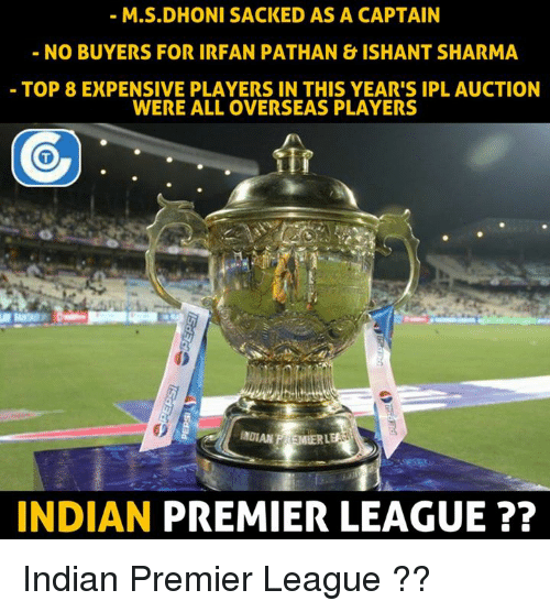 Memes, Premier League, and Indian: M.S.DHONI SACKED AS A CAPTAIN  NO BUYERS FOR IRFAN PATHAN &ISHANT SHARMA  TOP 8 EXPENSIVE PLAYERS IN THIS YEAR'S IPL AUCTION  WERE ALL OVERSEAS PLAYERS  INDIAN PREMIER LEAGUE Indian Premier League ??