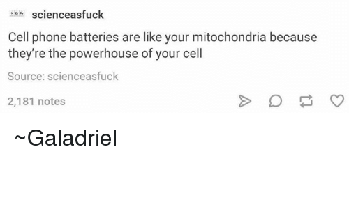 Memes, Phone, and Mitochondria: M scienceasfuck  Cell phone batteries are like your mitochondria because  they're the powerhouse of your cell  Source: scienceasfuck  2,181 notes ~Galadriel