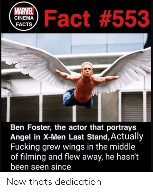 Facts, X-Men, and Angel: ma Fact #553  MARVEL  CINEMA  FACTS  Ben Foster, the actor that portrays  Angel in X-Men Last Stand, Actually  Fucking grew wings in the middle  of filming and flew away, he hasn't  been seen since Now thats dedication