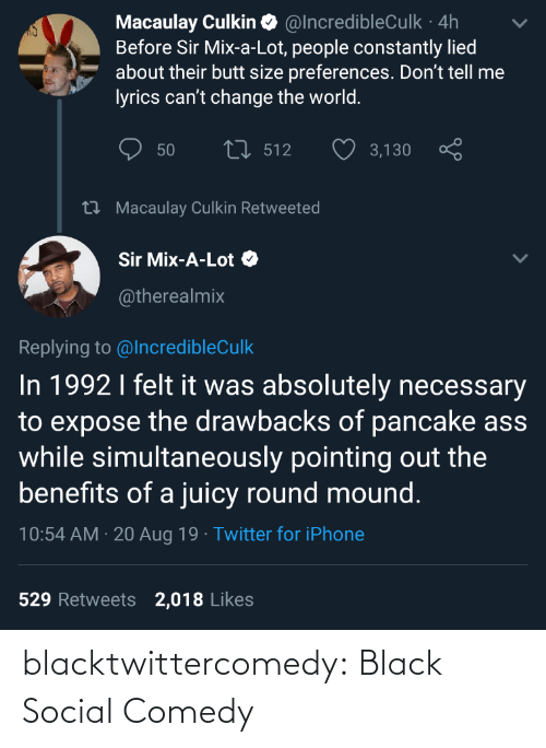 Butt, Iphone, and Macaulay Culkin: Macaulay Culkin O @IncredibleCulk · 4h  Before Sir Mix-a-Lot, people constantly lied  about their butt size preferences. Don't tell me  lyrics can't change the world.  27 512  50  3,130  27 Macaulay Culkin Retweeted  Sir Mix-A-Lot O  @therealmix  Replying to @IncredibleCulk  In 1992 I felt it was absolutely necessary  to expose the drawbacks of pancake ass  while simultaneously pointing out the  benefits of a juicy round mound.  10:54 AM · 20 Aug 19 · Twitter for iPhone  529 Retweets  2,018 Likes blacktwittercomedy:  Black Social Comedy