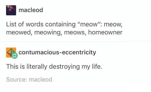 Macleod List of Words Containing Meow Meow Meowed Meowing