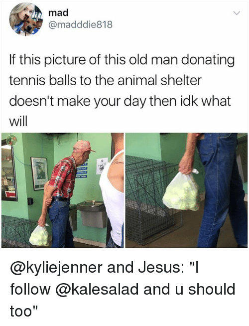 "Jesus, Memes, and Old Man: mad  @madddie818  If this picture of this old man donating  tennis balls to the animal shelter  doesn't make your day then idk what  will @kyliejenner and Jesus: ""I follow @kalesalad and u should too"""