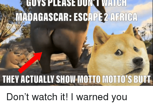 Africa, Butt, and Watch: MADAGASCAR: ESCAPE 2 AFRICA  THEY ACTUALLY SHOW MOTIO MOTIO'S BUTT