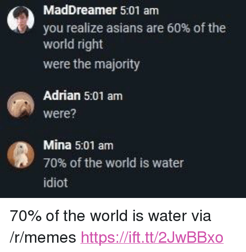 "Memes, Water, and World: MadDreamer 5:01 am  you realize asians are 60% of the  world right  were the majority  Adrian 5:01 am  were?  Mina 5:01 am  70% of the world is water  idiot <p>70% of the world is water via /r/memes <a href=""https://ift.tt/2JwBBxo"">https://ift.tt/2JwBBxo</a></p>"