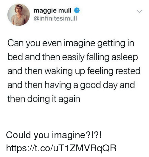 Funny, Good, and Can: maggie mull  @infinitesimull  Can you even imagine getting in  bed and then easily falling asleep  and then waking up feeling rested  and then having a good day and  then doing it again Could you imagine?!?! https://t.co/uT1ZMVRqQR