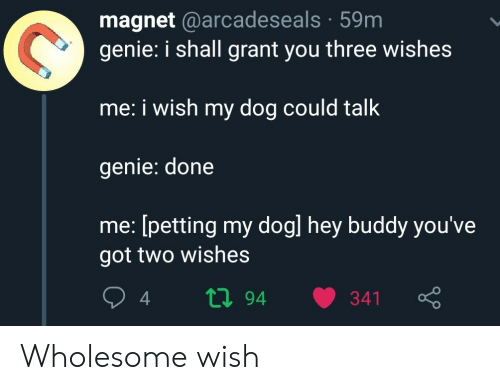 Wholesome, Got, and Genie: magnet @arcadeseals 59m  genie: i shall grant you three wishes  me: i wish my dog could talk  genie: done  me: [petting my dogl hey buddy you've  got two wishes  ti94  341 Wholesome wish