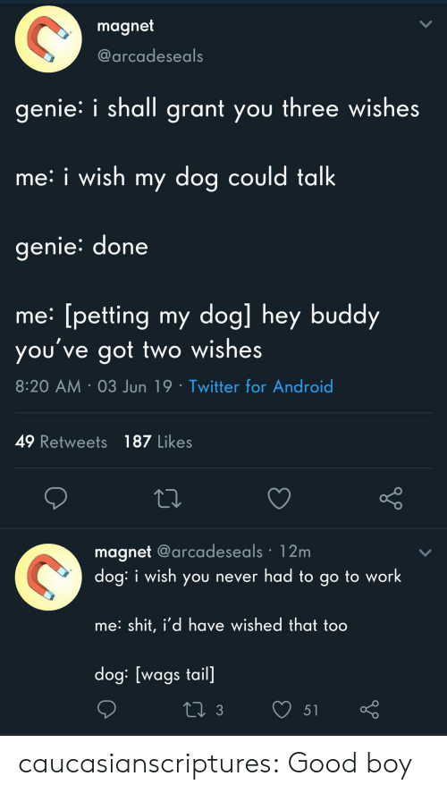 Android, Shit, and Target: magnet  @arcadeseals  genie i shall grant you three wishes  me: i wish my dog could talk  genie: done  me: [petting my dog] hey buddy  you've got two wishes  8:20 AM 03 Jun 19 Twitter for Android  49 Retweets 187 Likes  magnet @arcadeseals 12m  dog: i wish you never had to go to work  me: shit, i'd have wished that too  dog: [wags tail]  L 3  51 caucasianscriptures: Good boy