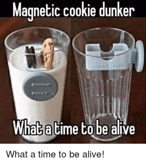 Alive, Funny, and Time: Magnetic cookie dunker  What a time to be alive What a time to be alive!