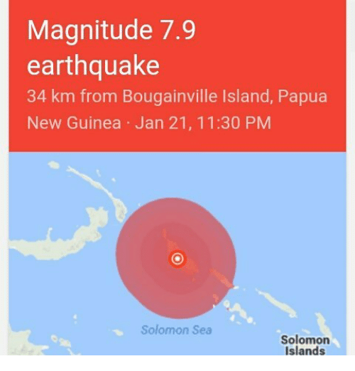 Memes Earthquake And Solomon Magnitude 7  Km From Bougainville Lsland