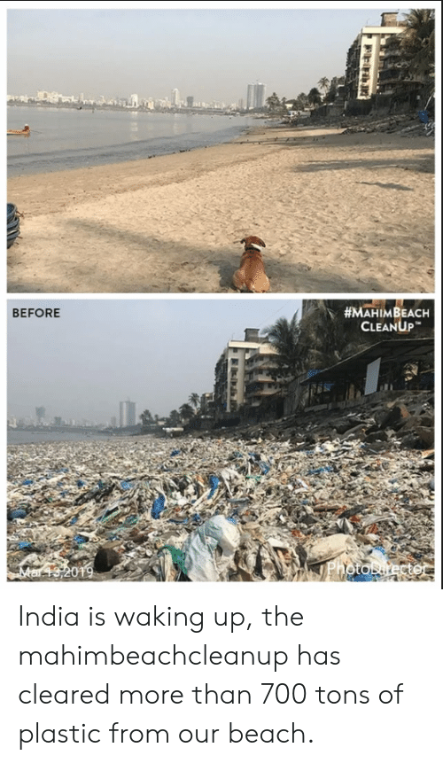 Beach, India, and Plastic:  #MAHIMBEACH  CLEANUP  BEFORE  ai India is waking up, the mahimbeachcleanup has cleared more than 700 tons of plastic from our beach.