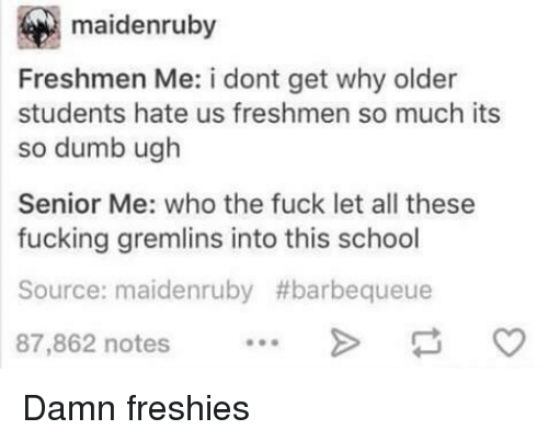 Dumb, Fucking, and School: maidenruby  Freshmen Me: i dont get why older  students hate us freshmen so much its  so dumb ugh  Senior Me: who the fuck let all these  fucking gremlins into this school  Source: maidenruby #barbequeue  87,862 notes Damn freshies