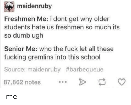Dumb, Fucking, and School: maidenruby  Freshmen Me: i dont get why older  students hate us freshmen so much its  so dumb ugh  Senior Me: who the fuck let all these  fucking gremlins into this school  Source: maidenruby #barbequeue  87,862 notes. me