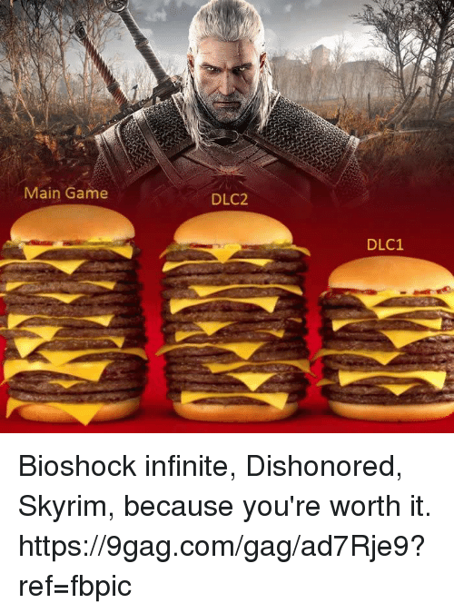 9gag, Dank, and Skyrim: Main Game  DLC2  DLC1 Bioshock infinite, Dishonored, Skyrim, because you're worth it. https://9gag.com/gag/ad7Rje9?ref=fbpic