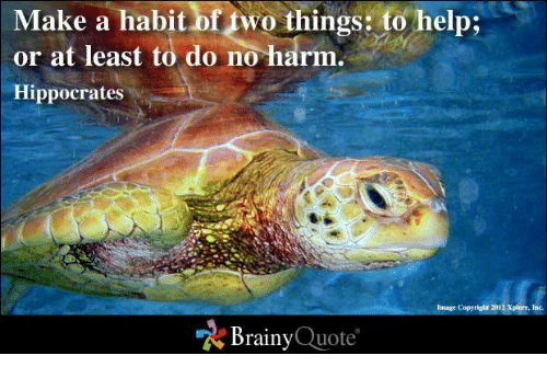 Memes, Help, and Image: Make a habit oftwo things to help:  or at least to do no harm.  Hippocrates  image copyright 2012 Xplore, Inc.  Brainy  Quote
