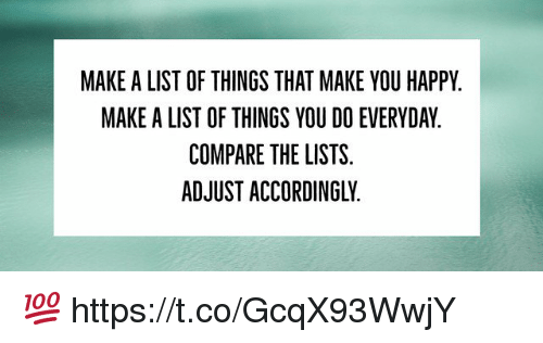 make a list of things that make you happy make a list of things you