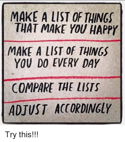 make a list of things that make you happy make alist of things you