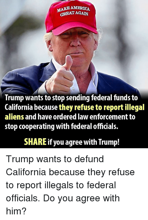 Memes, 🤖, and Law Enforcement: MAKE AMERICA  GREAT AGAIN  Trump wants to stop sending federal funds to  California because they refuse to report illegal  aliens and have ordered law enforcement to  stop cooperating with federal officials.  SHARE if you agree with Trump! Trump wants to defund California because they refuse to report illegals to federal officials. Do you agree with him?