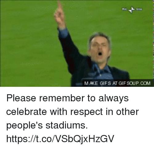 Gif, Respect, and Soccer: MAKE GIFS AT GIF SOUP.COM Please remember to always celebrate with respect in other people's stadiums. https://t.co/VSbQjxHzGV