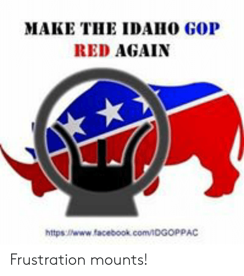 Facebook, Memes, and facebook.com: MAKE THE IDAHO GOP  RED AGAIN  https:/www facebook. com/oGopPAC Frustration mounts!
