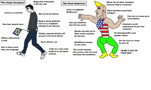 America, Ass, and Bad: Makes fun of America  to fill the vold  The Virgin Eu  Makes fun of other countries  The Chad American  because they're irrelevant  Lives in a gigantic  McMansion  Mere existence generates  Lives in a cuck flat  Has to bin his knives  Can own as many guns  as he please  Made a shitty globalist  union as a laughable  attempt to be relevant  Can say whatever  the fuck he wants  Has hate speech laws  Created a world  superpower in just two  Thinks concrete blocks wil  prevent a terrorist attack  Bombs the shit out of  third world countriets  for the lulz  His President RTs anti  muslim videos  Thinks nationalism  is bad  Got his first car when  he was 16  Can't afford a car  in the world  Has to learn more  than one language  Talks in a very calmThe world watches  manner to not upset  anyone  BLOW IT OUT OF  YOUR AsS!*  his movies, eats his food  and uses his inventions