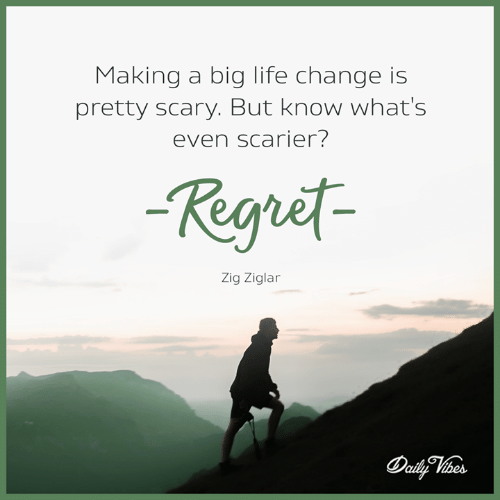 Life, Memes, and Regret: Makina a bia life change is  pretty scary. But know what's  even scarier?  Regret  Zig Ziglar
