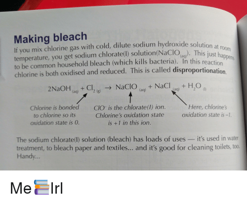 Making Bleach Solution At Room If You Mix Chlorine Gas