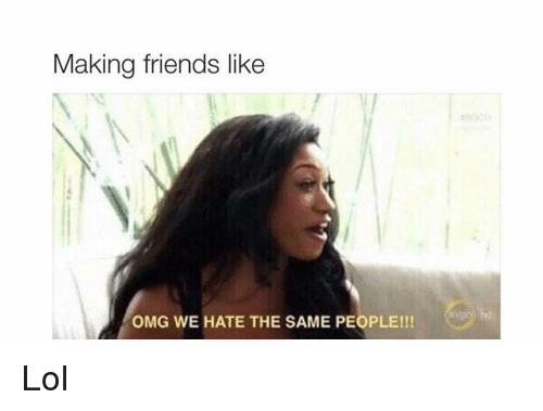 Friends, Funny, and Lol: Making friends like  OMG WE HATE THE SAME PEOPLE!!! Lol