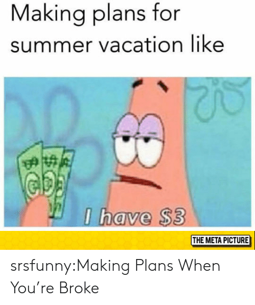 Tumblr, Summer, and Blog: Making plans for  summer vacation like  have $3  THE META PICTURE srsfunny:Making Plans When You're Broke