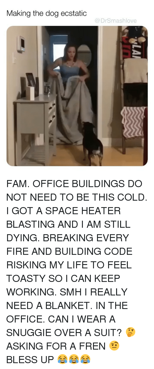 Bless Up, Fam, and Fire: Making the dog ecstatic  @DrSmashlove FAM. OFFICE BUILDINGS DO NOT NEED TO BE THIS COLD. I GOT A SPACE HEATER BLASTING AND I AM STILL DYING. BREAKING EVERY FIRE AND BUILDING CODE RISKING MY LIFE TO FEEL TOASTY SO I CAN KEEP WORKING. SMH I REALLY NEED A BLANKET. IN THE OFFICE. CAN I WEAR A SNUGGIE OVER A SUIT? 🤔 ASKING FOR A FREN 🤨 BLESS UP 😂😂😂