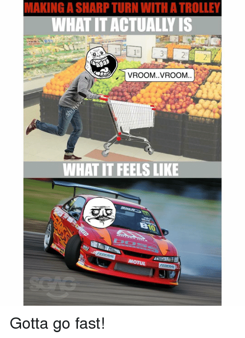 Memes, 🤖, and Gotta Go Fast: MAKINGASHARP TURN WITH ATROLLEY  WHAT IT ACTUALLY IS  VROOM..VROOM  WHAT IT FEELS LIKE  FEDERAL  MOTUL  FEDERAL Gotta go fast!