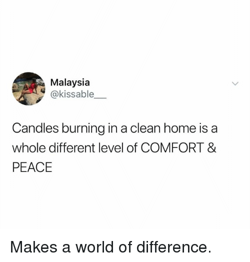 Memes, Home, and Malaysia: Malaysia  @kissable  Candles burning in a clean home is a  whole different level of COMFORT &  PEACE Makes a world of difference.