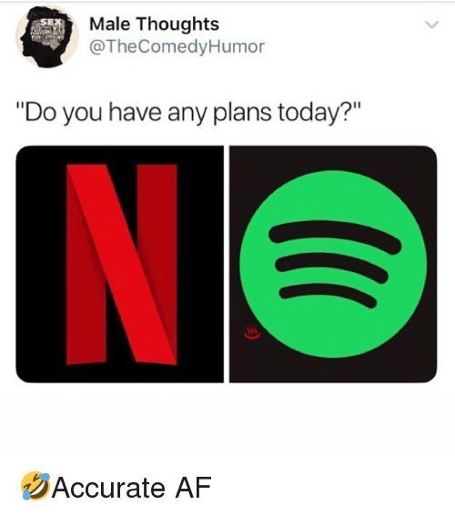 """Af, Memes, and Today: Male Thoughts  @TheComedyHumor  """"Do you have any plans today?""""  Sss 🤣Accurate AF"""