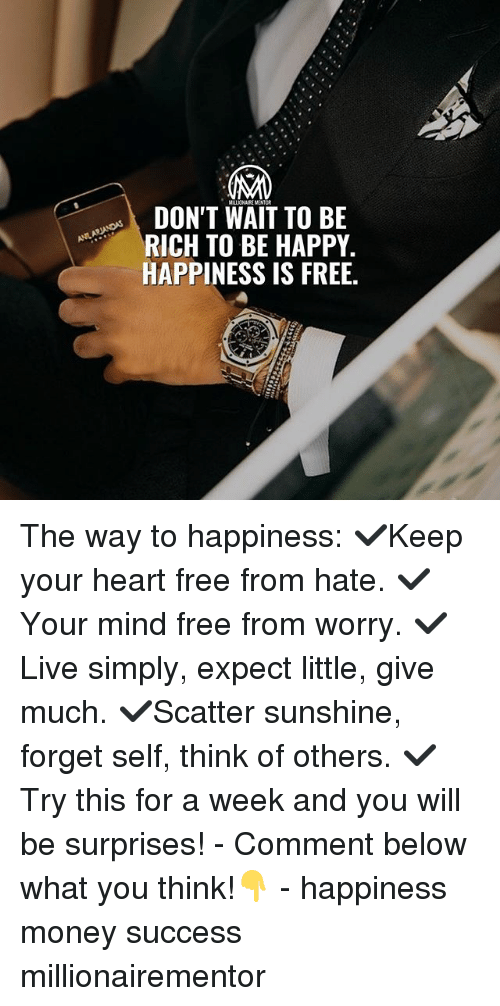 Memes, Money, and Free: MALIONAIK MENTOR  DON'T WAIT TO BE  RICH TO BE HAPPY.  HAPPINESS IS FREE. The way to happiness: ✔️Keep your heart free from hate. ✔️Your mind free from worry. ✔️Live simply, expect little, give much. ✔️Scatter sunshine, forget self, think of others. ✔️Try this for a week and you will be surprises! - Comment below what you think!👇 - happiness money success millionairementor