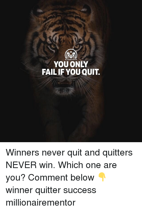 Fail, Memes, and Never: MALIONAIRE MENTOR  YOU ONLY  FAIL IF YOU QUIT. Winners never quit and quitters NEVER win. Which one are you? Comment below 👇 winner quitter success millionairementor
