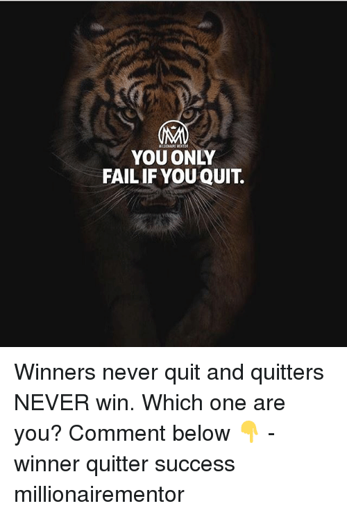 Fail, Memes, and Never: MALIONAIRE MENTOR  YOU ONLY  FAIL IF YOU QUIT. Winners never quit and quitters NEVER win. Which one are you? Comment below 👇 - winner quitter success millionairementor