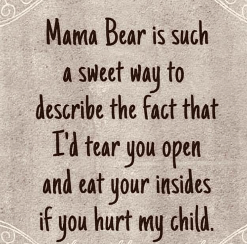 Dank, Bear, and 🤖: Mama Bear is such  a Sweet way to  describe the fact that  I'l tear you open  and eat your insides  if  hurt my child.