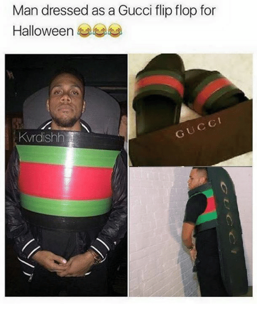 77e4f68d0 Man Dressed as a Gucci Flip Flop for Halloween