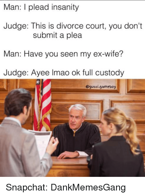 Ex's, Memes, and Snapchat: Man: l plead insanity  Judge: This is divorce court, you don't  submit a plea  Man: Have you seen my ex-wife?  Judge: Ayee Imao ok full custody  Sgucci gameboy Snapchat: DankMemesGang