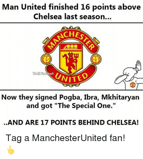 "Memes, 🤖, and Man United: Man United finished 16 points above  Chelsea last season...  CHES  Trol Football  UNITED  Now they signed Pogba, Ibra, Mkhitaryan  and got ""The Special One.""  AND ARE 17 POINTS BEHIND CHELSEA! Tag a ManchesterUnited fan! 👆"