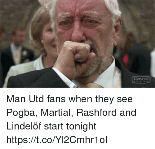 Memes, Martial, and 🤖: Man Utd fans when they see Pogba, Martial, Rashford and Lindelöf start tonight  https://t.co/Yl2Cmhr1oI