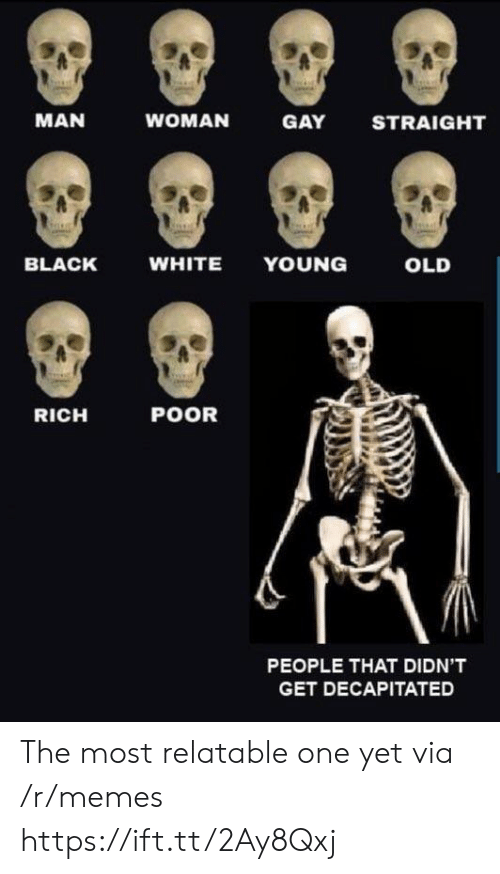 Memes, Black, and White: MAN  WOMAN  GAY  STRAIGHT  BLACK  WHITE YOUNG  OLD  RICH  POOR  PEOPLE THAT DIDN'T  GET DECAPITATED The most relatable one yet via /r/memes https://ift.tt/2Ay8Qxj
