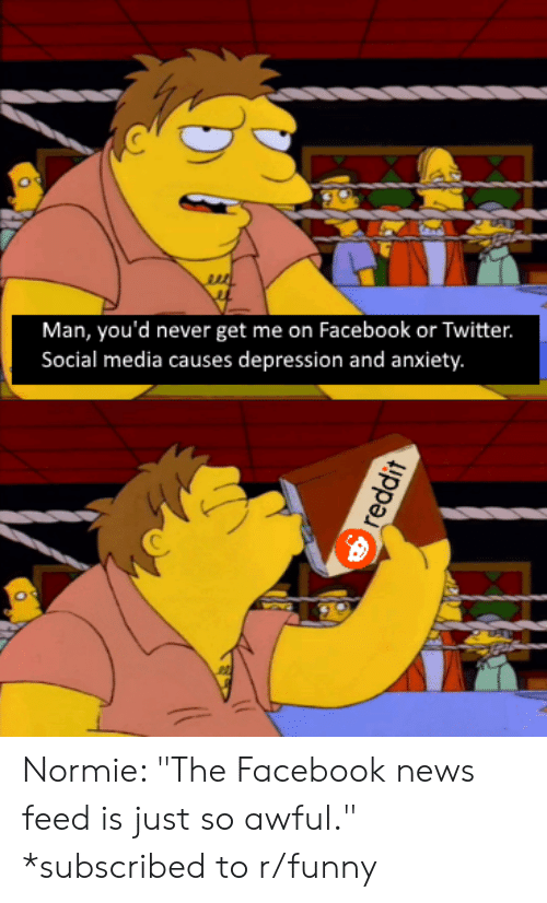 """Facebook, Funny, and News: Man, you'd never get me on Facebook or Twitter.  Social media causes depression and anxiety. Normie: """"The Facebook news feed is just so awful."""" *subscribed to r/funny"""