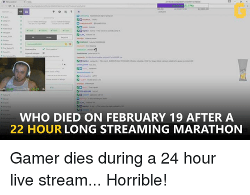 Video Games, Live, and Marathon: man22  WHO DIED ON FEBRUARY 19 AFTER A  22 HOUR LONG STREAMING MARATHON Gamer dies during a 24 hour live stream... Horrible!