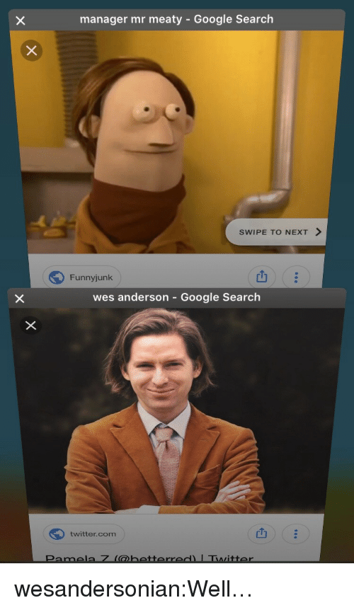 Google, Tumblr, and Twitter: manager mr meaty - Google Search  SWIPE TO NEXT >  Funnyjunk  山  wes anderson - Google Search  twitter.com  凹 wesandersonian:Well…