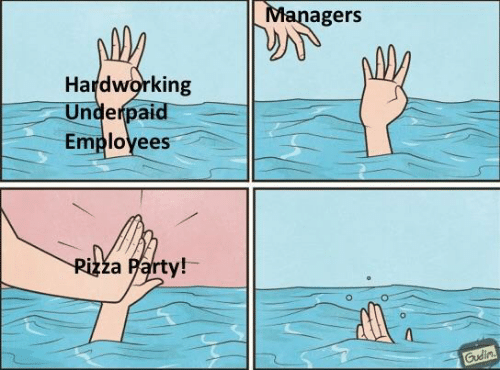 Party, Hardworking, and Employees: Managers  Hardworking  Underpaid  Employees  Rizza Party!  Gudin