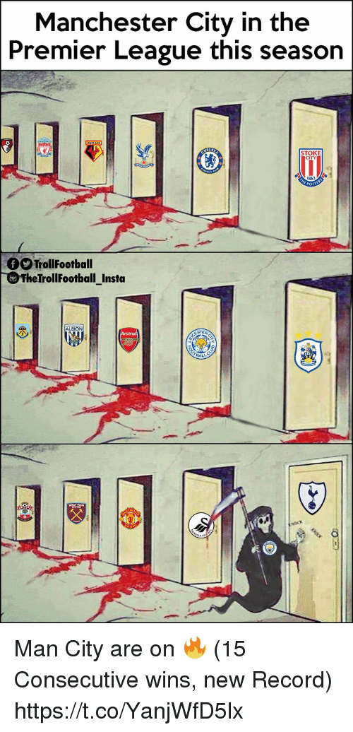 Memes, Premier League, and Manchester City: Manchester City in the  Premier League this season  STOKE  CITY  1863  O TrollFootball  TheTrollFootball Insta  ALBION Man City are on 🔥 (15 Consecutive wins, new Record) https://t.co/YanjWfD5lx