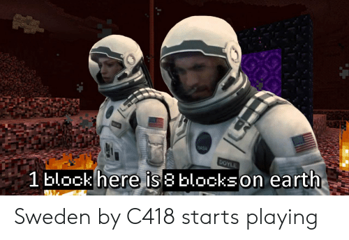 Earth, Sweden, and Asa: MAND  ASA  DOYLE  1block here is 8 blockson earth Sweden by C418 starts playing