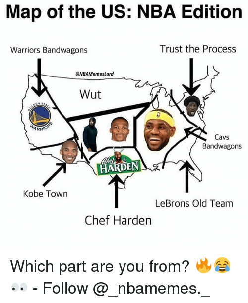 Map of the US NBA Editiorn Warriors Bandwagons Trust the Process