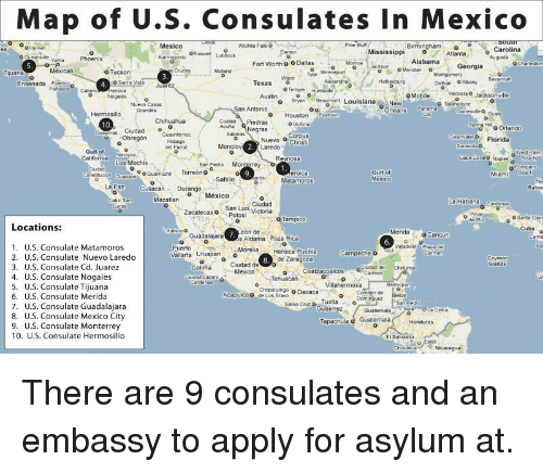 Map Of Us Consulates In Mexico O O Hemet Mexico Birminghamo Carolina - Us-consulates-in-mexico-map